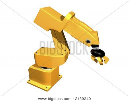 3D Orange Robotic Arm