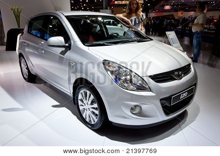 Moscow, Russia - August 25:  Grey Car Hyundai  I20 At Moscow International Exhibition Interauto On A