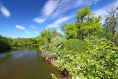 picture of winnebago  - Beautiful blue skies on a spring day along the Kishwaukee River of Illinois - JPG