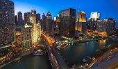 Chicago Skyline Aerial View At Dusk, United States poster