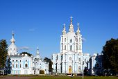 St. Petersburg. The Smolny Cathedra. Age-Old Architecture. poster