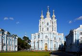 The Smolny Cathedra, Russia. Dark Blue Sky. Age-Old Architecture. poster