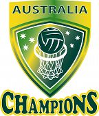 stock photo of netball  - illustration of a netball ball and net hoop set inside shield with words Australia Champions - JPG