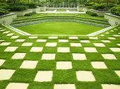 picture of manicured lawn  - Brick with manicured lawn - JPG