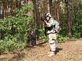 stock photo of hider  - Soldier wearing ACU in the woodland aiming the target - JPG