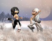 image of centaur  - Two cute toon centaurs plying in the snow - JPG