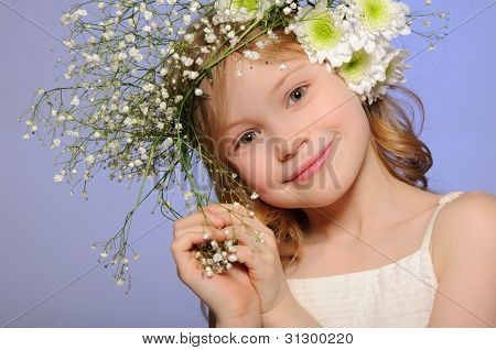 Horizontal Portrait Girl With Wreath Of Flowers