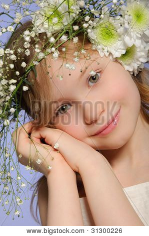 Vertical Portrait Girl With Wreath Of Flowers