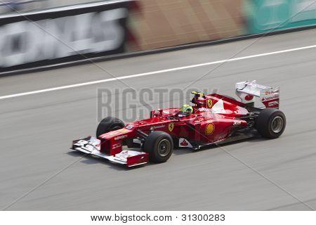 felipe Massa down the main straight
