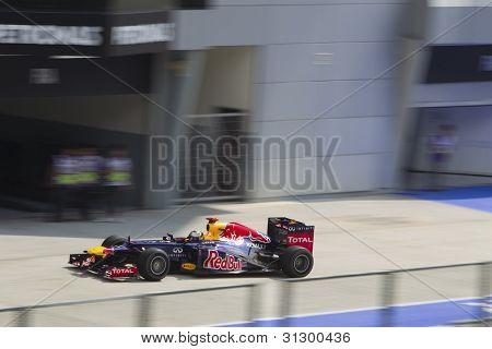 Sebastian Vettel enters pit lane