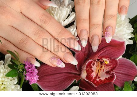 Female Hands With Manicure Closeup