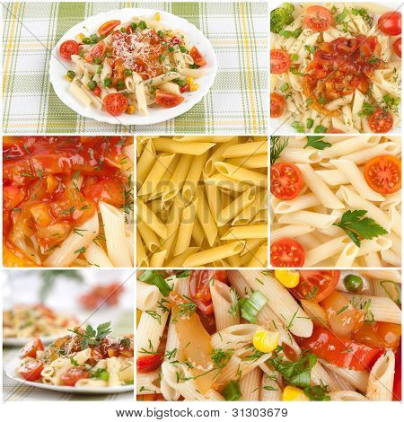 Italian Pasta. Food Collage