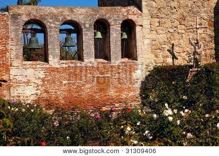 Mission San Juan Capistrano Church Wall Bells Ruins Rose Garden