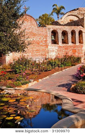Fountain Pool Bells Mission San Juan Capistrano Ruins California