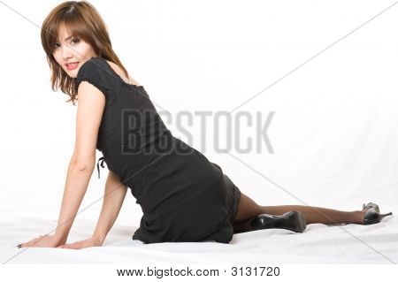 Young Japanese Woman Lying On The Floor.