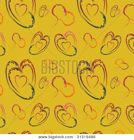 Seamless Background With Varicoloured Abstract Hearts
