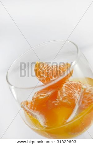 Fruit orange and glass