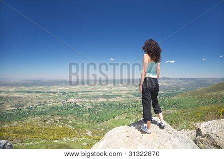 Stand Woman Looking At Piedrahita Village