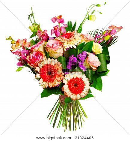 bouquet of roses, gerberas and alsrtomerias