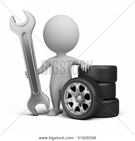 3D Small People - Car Mechanic