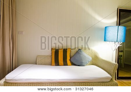 Yellow And Brown Pillow On Sofa In Romantic Room