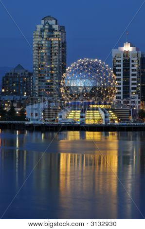 Geodesic Dome Of Science World, Vancouver Night Scene