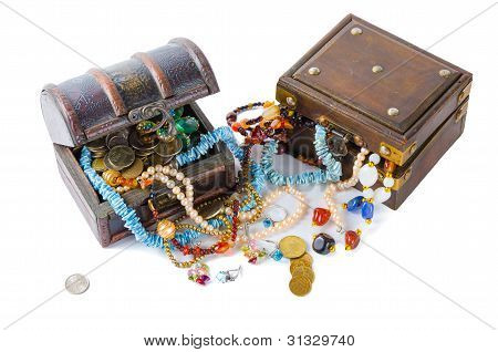 Two Chest Of Jewels, On White Background