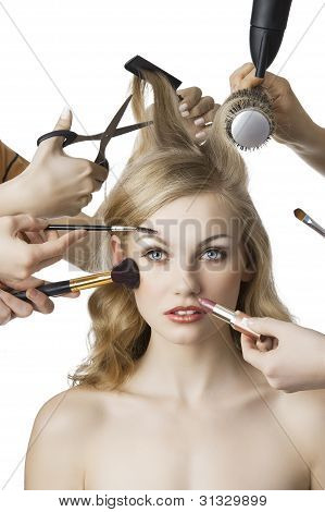 In Beauty Salon, The Girl Looks In To The Lens