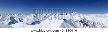 Panorama Of Winter Mountains. Caucasus Mountains, Georgia, Region Gudauri.