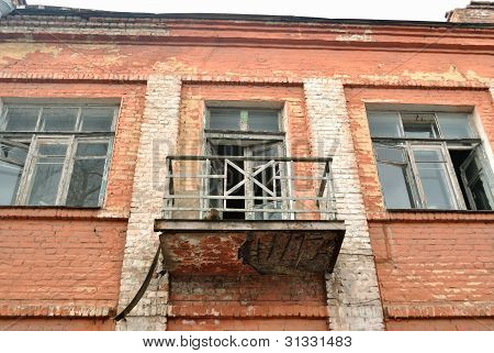 The balcony of old dilapidated building