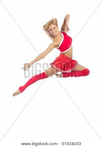 Happy Female Cheerleader Dancer Jumping