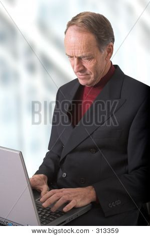 Business Man Browsing In His Office