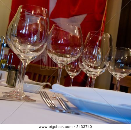 Table Appointments For Dinner In Restaurant