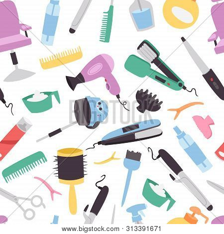 poster of Beauty Salon Vector Seamless Pattern. Colorful Hairdresser Tools And Equipment For Beauty Salon. Fas