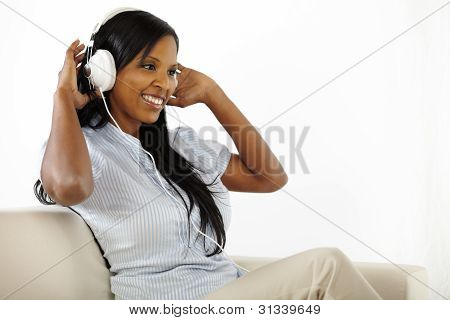 Young Lady Listening To Music And Having Fun