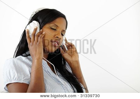 Calm Young Female Listening To Music