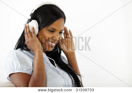 Happy Young Female Listening To Music