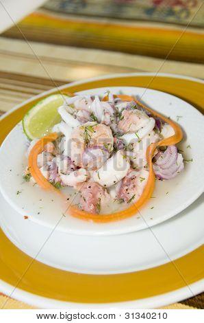 Salpicon De Mariscos Spanish Seafood Salad San Luis San Andres Island Colombia