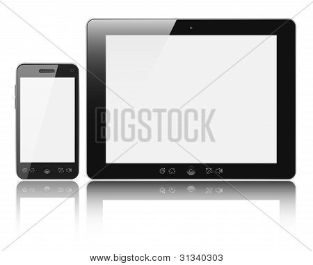 Tablet Pc With Mobile Smartphone