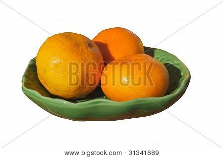 Oranges On A Plate.