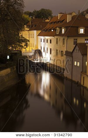 Prague Canal With Water Wheel