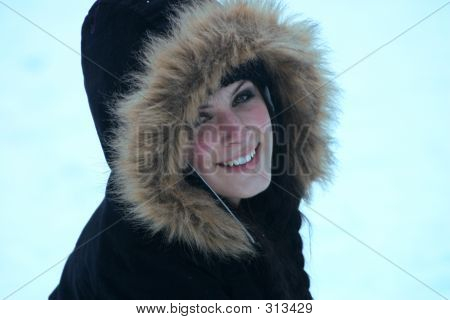 Smiling Teen In Snow