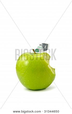 Dollar Leaf Coming Out From Green Apple Isolate On White Background