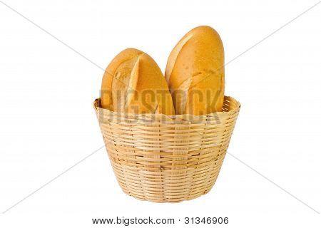 Two Baguette In Basket