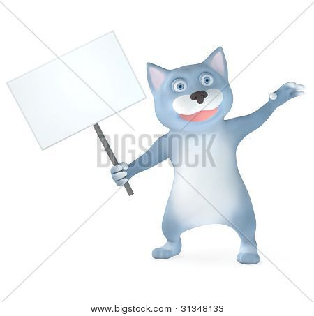 Cat with banner