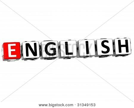 3D English Language Crossword On White Background