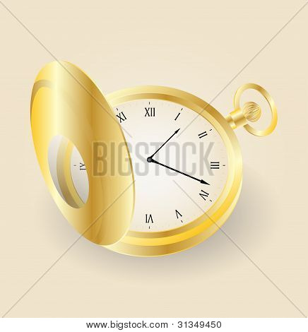 Vector Pocket Gold Watch Highly Detailed