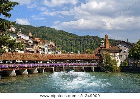 Wooden Sluice Bridge In Thun