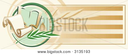 Horizontal Tawny Background With Roll, Book And Palm Branch.