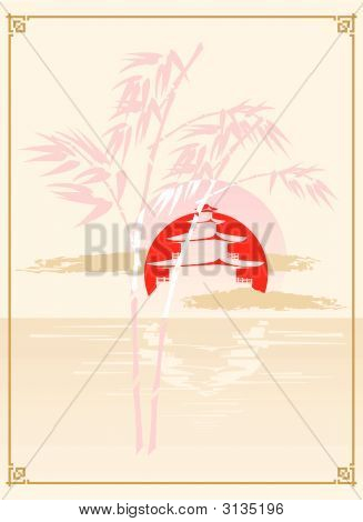 Japan Pagoda, Bamboo And Sun